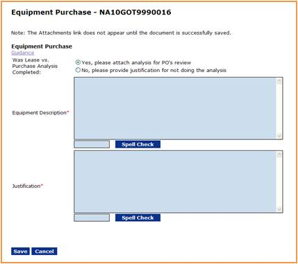 Equipment Purchase screen