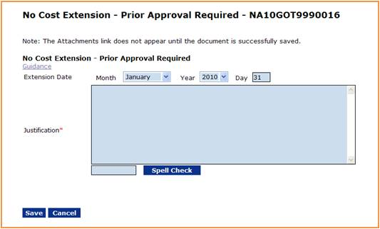 No Cost Extension - Prior Approval Required screen