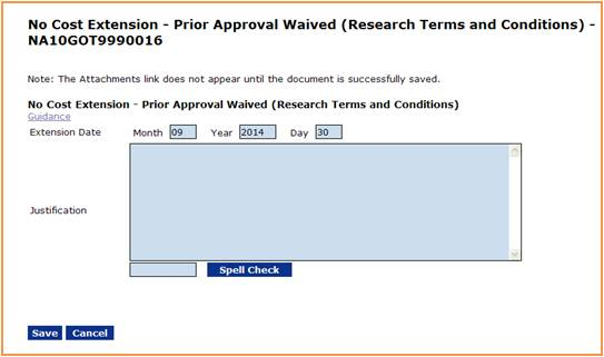 No Cost Exension - Prior Approval Waived screen