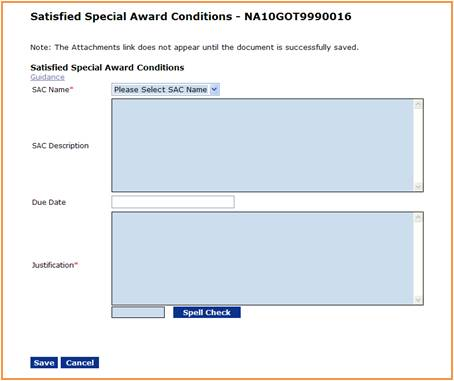 Satisfied Special Award Conditions screen