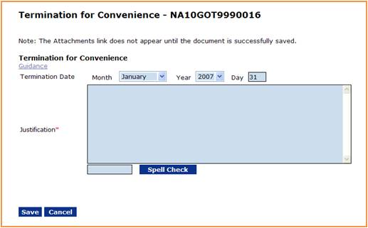 Termination for Convenience screen