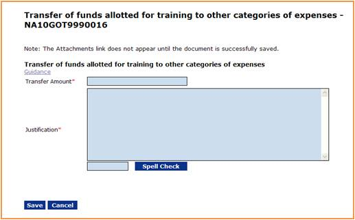 Transfer of funds screen