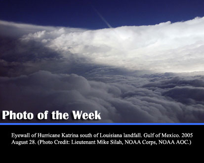 Eyewall of Hurricane Katrina south of Louisiana landfall. Gulf of Mexico. 2005 August 28. (Photo Credit: Lieutenant Mike Silah, NOAA Corps, NOAA AOC.)