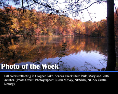 Fall colors reflecting in Clopper Lake. Seneca Creek State Park, Maryland, 2002 October. (Photo Credit: Photographer: Eileen McVey, NESDIS, NOAA Central Library)